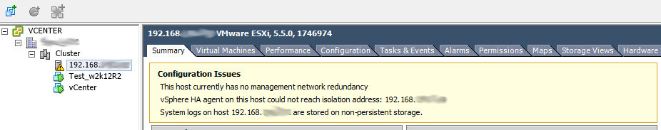 ESXi warnings